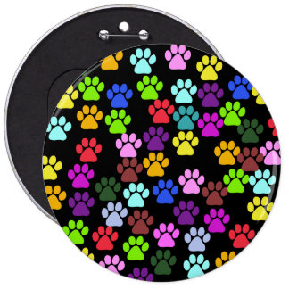 Dog Paws, Trails, Paw-prints - Red Blue Green Buttons