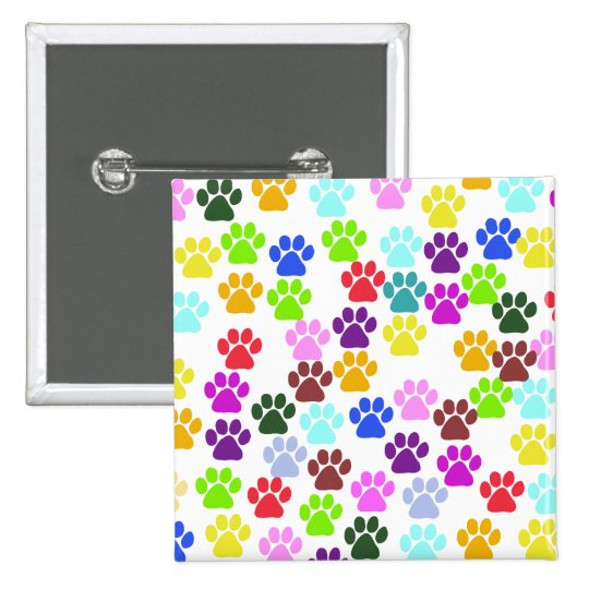 Dog Paws, Trails, Paw-prints - Red Blue Green Button