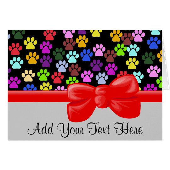 Dog Paws, Trails, Paw-prints - Red Blue Green Card