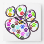 Dog Paws, Trails, Paw-prints - Red Blue Green Wallclock