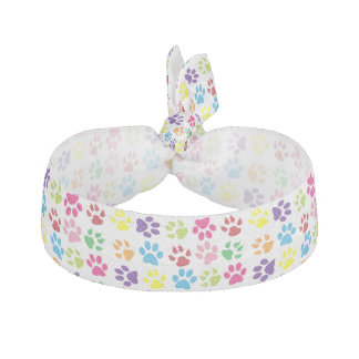 Dog Paws, Trails, Paw-prints - Red Blue Green Elastic Hair Tie