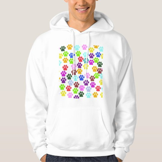 Dog Paws, Trails, Paw-prints - Red Blue Green Hoodie