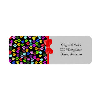 Dog Paws, Trails, Paw-prints - Red Blue Green Return Address Labels
