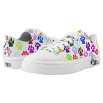 Dog Paws, Trails, Paw-prints - Red Blue Green Low-Top Sneakers