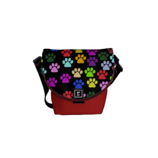 Dog Paws, Trails, Paw-prints - Red Blue Green Messenger Bags