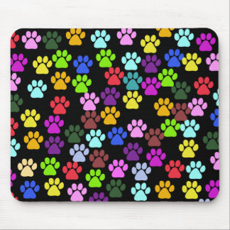 Dog Paws, Trails, Paw-prints - Red Blue Green Mouse Pad