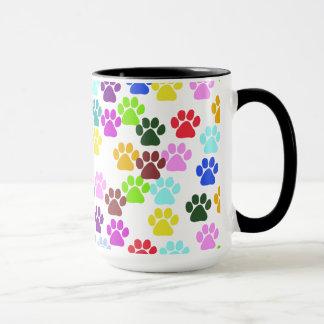 Dog Paws, Trails, Paw-prints - Red Blue Green Mug