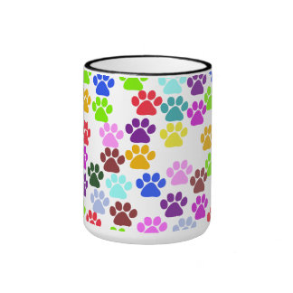 Dog Paws Trails Paw-prints - Red Blue Green Mugs