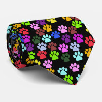 Dog Paws, Trails, Paw-prints - Red Blue Green Neck Tie