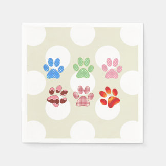 Dog Paws, Trails, Paw-prints - Red Blue Green Paper Napkin