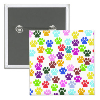 Dog Paws, Trails, Paw-prints - Red Blue Green Pin