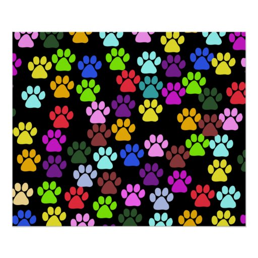 Dog Paws, Trails, Paw-prints - Red Blue Green Poster