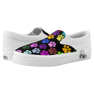 Dog Paws, Trails, Paw-prints - Red Blue Green Slip-On Sneakers