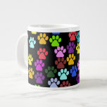 Dog Paws, Trails, Paw-prints - Red Blue Green Extra Large Mugs