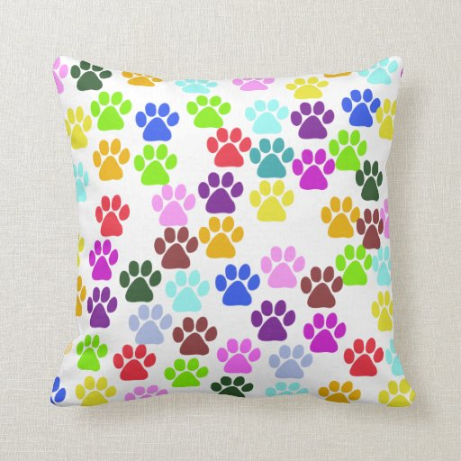 Red Dog Throw Pillows : Dog Paws, Trails, Paw-prints - Red Blue Green Throw Pillow Zazzle