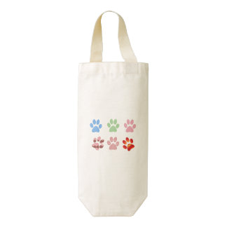 Dog Paws, Trails, Paw-prints - Red Blue Green Zazzle HEART Wine Bag