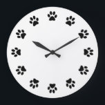 """DOG PAWS WALL CLOCK<br><div class=""""desc"""">CUTE AND ADORABLE CAN BE CUSTOMIZED ,  PLACE PICTURE IN THE CENTER OR BUSINESS NAME ,  AND DOGS NAME TOO... .</div>"""
