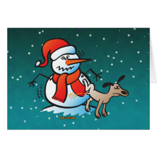 Dog Peeing on a Snowman Greeting Cards