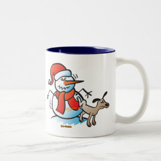 Dog Peeing on a Snowman Two-Tone Coffee Mug