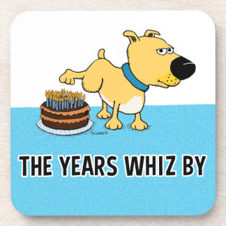 Dog Peeing on Birthday Cake: Years Whiz By Beverage Coaster