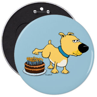 Dog Peeing on Birthday Cake: Years Whiz By Pinback Button