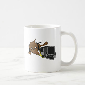 dog peeing on pc smiley coffee mug