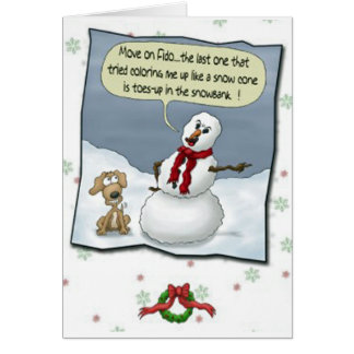 Dog Peeing on Snowman Threat Greeting Card