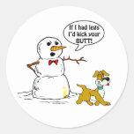 Dog Pees on Snowman Joke Round Stickers
