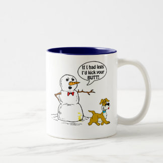 Dog Pees on Snowman Joke Two-Tone Coffee Mug