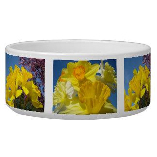 Dog Pet Bowls custom Spring Daffodils Flowers Dog Food Bowls