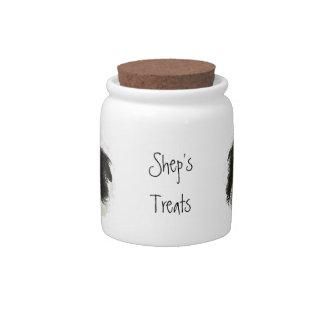 Dog, Pet, Custom Name Treat Jar, Border Collie Candy Jars