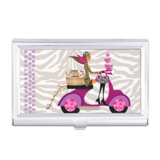 Dog Pet Grooming Cupcake Zebra Bling Business Card Case