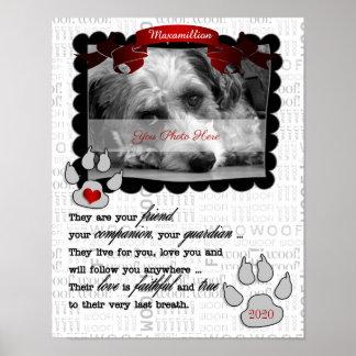 Dog Pet Memorial Red Heart Custom Photo Poster