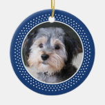 Dog Pet Photo Frame - double sided Double-Sided Ceramic Round Christmas Ornament