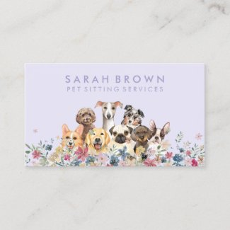 Dog Pet Sitting Floral Purple Business Card