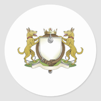 Dog pets heraldic shield coat of arms classic round sticker