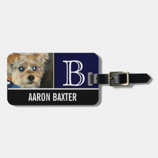 Dog Photo Blue Monogrammed Custom Luggage Tag