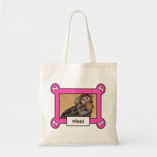 Dog Photo Canvas Bag Pink Frame