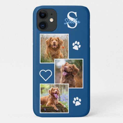 Dog Photo Collage Monogram Blue Pet Phone Case