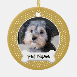 Dog Photo Frame - SINGLE-SIDED Double-Sided Ceramic Round Christmas Ornament