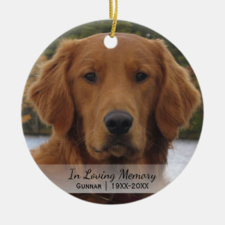 Dog Photo In Loving Memory Name Year Christmas Ceramic Ornament