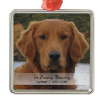 Dog Photo In Loving Memory Name Year Christmas Metal Ornament
