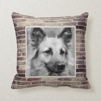 Dog Photo Masculine Brickwork Accent Pillow