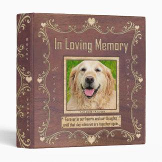 Dog Photo Memorial Carved Wood Look Binder