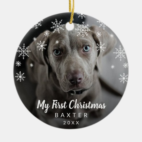 Dog Photo My First Christmas Snowflakes Ceramic Ornament