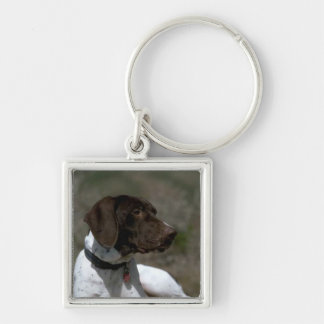 Dog Photo Silver-Colored Square Keychain