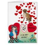 Dog Photo Vintage Valentine 5 Greeting Card