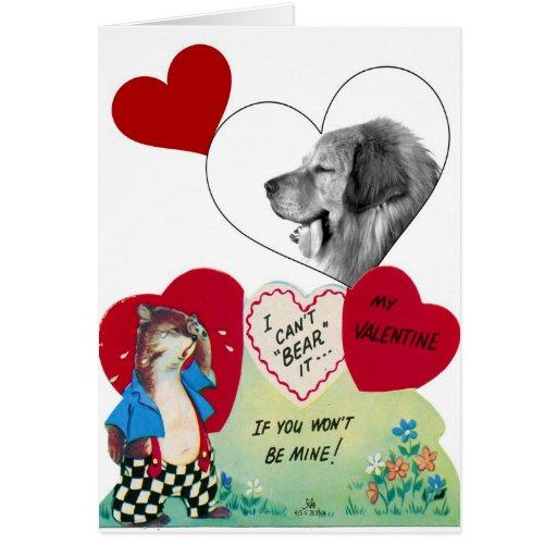 Dog Photo Vintage Valentine 6 Greeting Card
