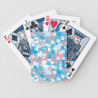 Dog Pink and Blue Camouflage Pattern Bicycle Playing Cards
