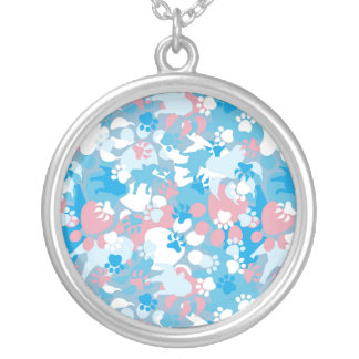 Dog Pink and Blue Camouflage Pattern Silver Plated Necklace